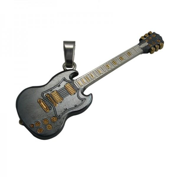 SG E-Gitarre Silber schwarz